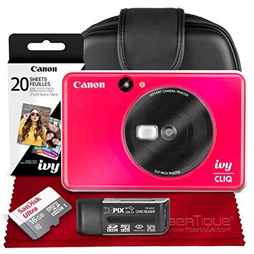 Canon Ivy CLIQ Instant Camera Printer (Lady Bug Red) + 30 Sheets Photo Paper + 16GB SD Card + Case + Premium Accessories Bundle (USA Warranty)