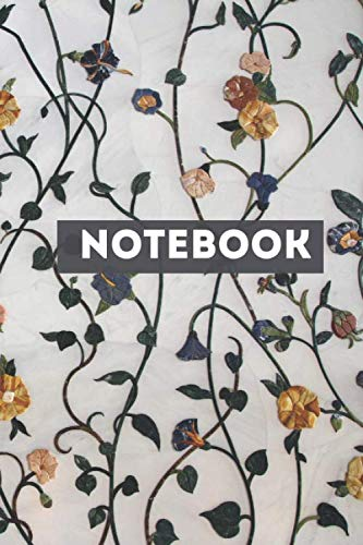 NoteBook: with Flowers On Stems Glassy Effect Print Design