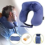 Neck Pillow U Shaped Pillow Comfortable Travel Pillow With Velour Cover, Sleep Mask and Earplugs Provides Neck Pillow U Shaped Relief and Support for Travel, Home, Neck Pain, and Many More(Roya Blue)