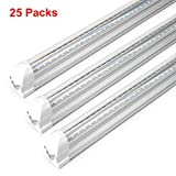 T8 8 Foot LED Lights 72W, AC85-277V SMD2835 Clear Cover Cool White 6000K Dual Row V Shape Integrated LED Tube Light 8FT for Shop Car Garage Parking Place(25-Pack)