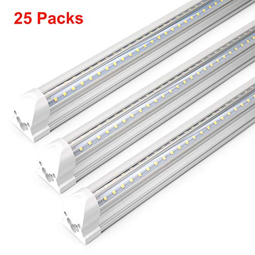 T8 8 Foot LED Lights 72W, AC85-277V SMD2835 Clear Cover Cool White 6000K Dual Row V Shape Integrated LED Tube Light 8FT for Shop Car Garage Parking Place(25-Pack) (Led Parking Garage Light)