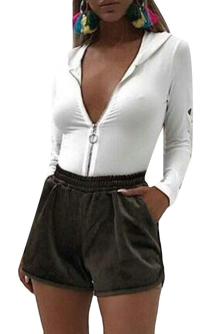 UUYUK Women Long Sleeve Full-Zip Deep V Neck Solid Hooded Bodysuit