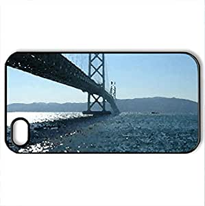 Akashi-Kaikyo Bridge Japan World's Longest Suspension Bridge - Case Cover for iPhone 4 and 4s (Bridges Series, Watercolor style, Black)