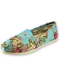 VEGAN Womens Floral Black Slip-on Casual Flats Canvas Shoes Alpargatas (Romantic)