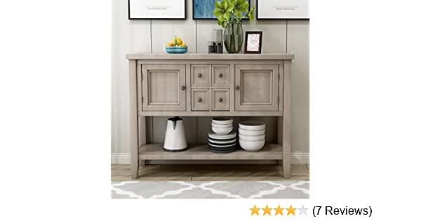 ZSQ Buffet Table, Cambridge Series Sideboard Table with Bottom Shelf,  Console Table Dining Room Server, Entry Table Buffet Cabinet Sofa Table  (Grey)