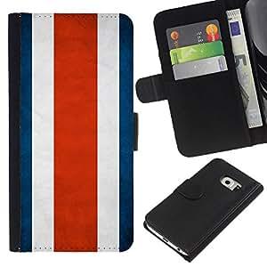 BearCase / Cuero de la tarjeta la carpeta del tirón Smartphone Slots Protección Holder /// Samsung Galaxy S6 EDGE /// Nación Bandera Nacional País Costa Rica
