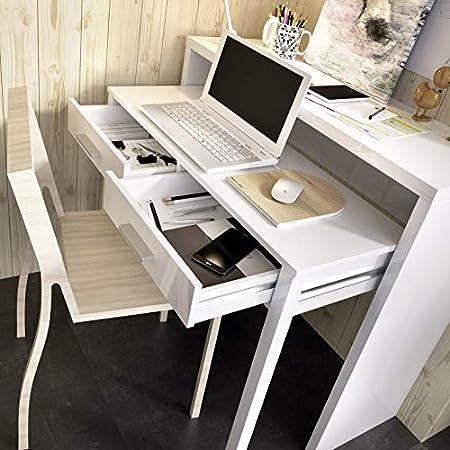 Escritorio Consola Granada Extensible 2 cajones Color Blanco ...