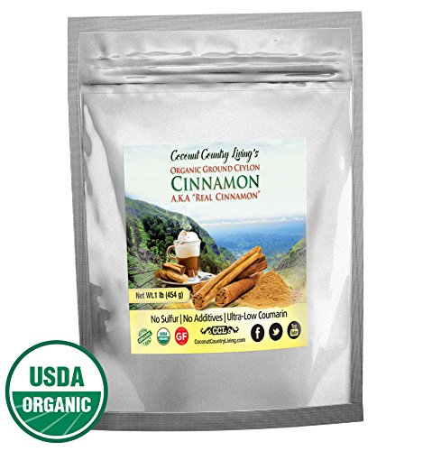 Organic Ceylon Cinnamon Powder Ground 1 lb Premium Grade, Freshly Harvested, Packed, in Sri Lanka w/ E-Book, Secrets of True Cinnamon for health and beauty.