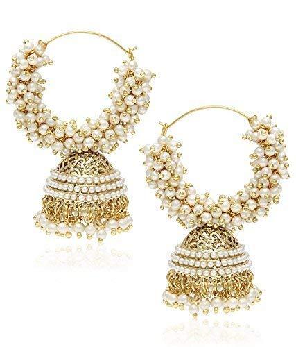 Zeneme Copper Gold Plated Jhumki Earrings Jewellery for Women   Girls
