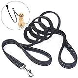 Double Handle Dog Leash, PETBABA 6.6ft Long Reflective Padded Heavy Duty Nylon Training Dog Lead For Dogs Black