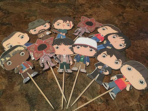Inspired Stranger Things Cupcake Toppers - 12 Fully Assembled Cupcake Toppers