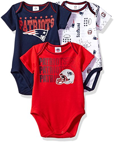 iots Boys Short Sleeve Bodysuit (3 Pack), 0-3 Months, Navy (New England Patriots Infant)