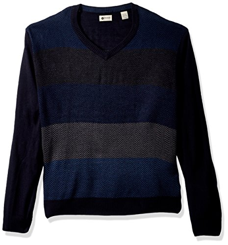 V-neck Sweater Herringbone (Haggar Men's Soft Acrylic All Over Herringbone V Neck Sweater, Navy XXL)
