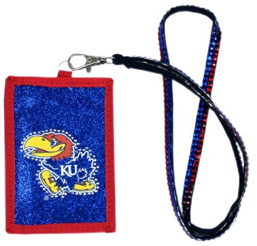NCAA Kansas Jayhawks Beaded Lanyard with Nylon Wallet