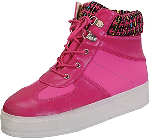 Chase & Chloe Women's High Top Platform Fashion Sneaker (8 B(M) US, Fuschia/Pink)
