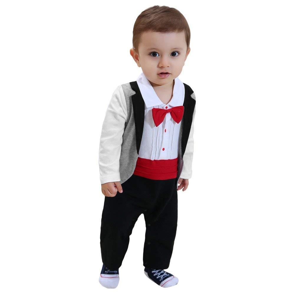 Chinatera Baby Boys Tuxedo Romper Onesies Jumpsuit Newborns Wedding Neck Tie Suit Party Clothes
