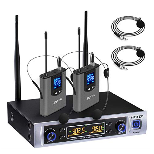 Hotec UHF Dual Wireless Microphone System with Lapel Lavalier and Headset Microphones Over PA, Mixer, Speaker, Karaoke Machine for Church, Training, Classroom, Interview (H-K25) ()