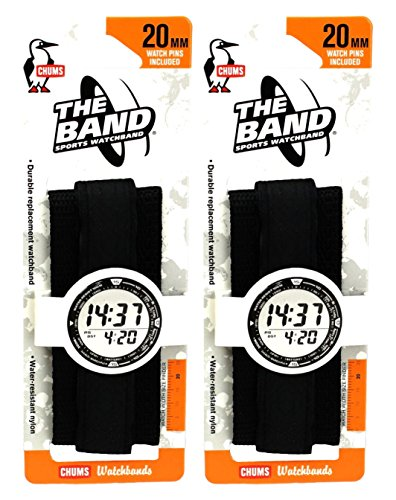 (Chums The Band 20mm Wide Sports Velcro Watch Band / Strap, Black (2 Pack))