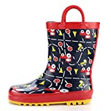KomForme Kids Rain Boots, Waterproof Rubber Printed with Handles in Various Prints and Different Sizes