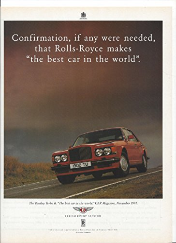 MAGAZINE ADVERTISEMENT For 1991 Red Bentley Turbo R Cars: Relish Every Second