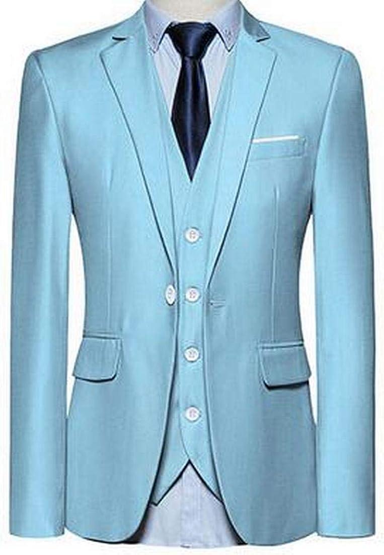 KLJR Men 3 Piece Suit 1 Button Wedding Blazer Tux Vest /& Trousers