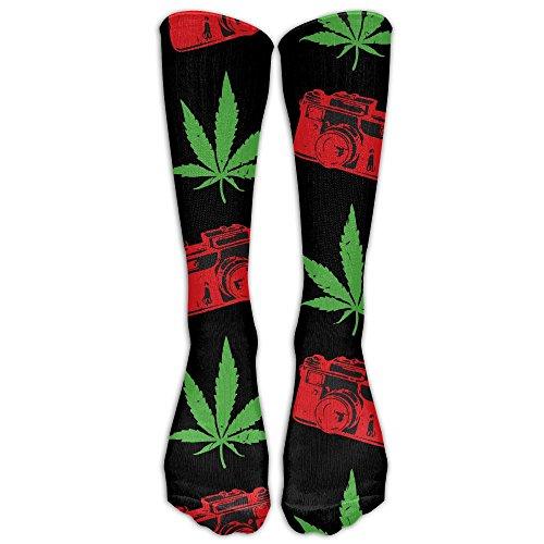 Men Women Cameras And Cannabis Hemp Athletic Tube Long Stockings Classics Fashion Calf High Socks Sport