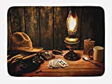 Lunarable Western Bath Mat, Mystic Night in Hotel Room Dallas with Lantern Nightstand Table and Poker Card Design, Plush Bathroom Decor Mat with Non Slip Backing, 29.5 W X 17.5 W Inches, Brown