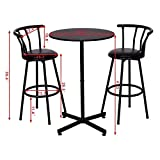 ANA Store Black Round Conner Drinking Bar Set of 3 Piece Saloon Inn Bench with Rotation Backrest Quilted Seat Footrest Ottoman Chair Contemporary Outdoor Dining Counter