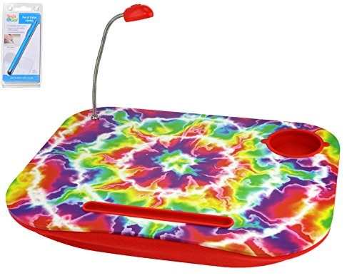 Red Tie Dye Portable Laptop Tablet Notebook Computer Lap Desk with Cup Holder Light Cushion Pillow Best Unique Gift for Girls Boys Teens Kids Adults with Stylus