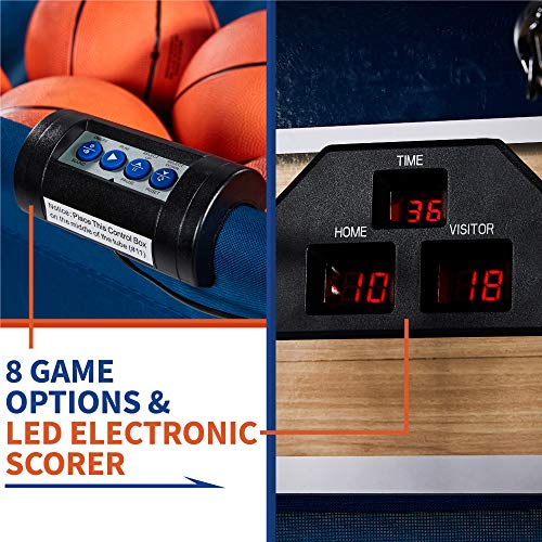 Premium Shootout Basketball Arcade Game, Home Dual Shot with LED Lights and Scorer - 8-Option Interactive Indoor Basketball Hoop Game with Double Hoops, 7 Basketballs, Pump - Foldable Space Saver by Rally and Roar (Image #5)