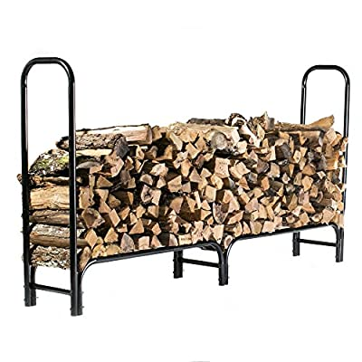 HIO Large Heavy Duty Outdoor Firewood Racks 8-Foot Steel Wood Storage Log Rack Holder