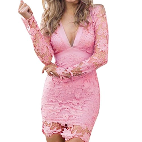 Price comparison product image Women Dress Daoroka Women's Deep V Neck Backless Lace Bodycon Cocktail Ladies Club Evening Party Evening Mini Skirt Floral New Fashion Long Sleeve Casual Slim Above Knee Solid Dress (L, Pink)