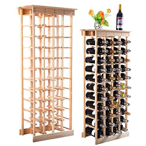 44 Bottle Wood Wine Rack Storage Display Shelves Kitchen Decor Natural ()