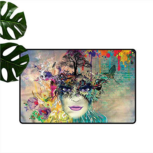 Modern Door mat Colorful Floral Woman Portrait Bird Antifouling W30 xL39 (Bunch Of Female Dogs And Garden Tools)