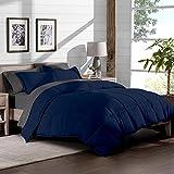Extra Large Bed Comforters 7-Piece Bed-In-A-Bag - Full (Comforter Set: Dark Blue, Sheet Set: Grey)