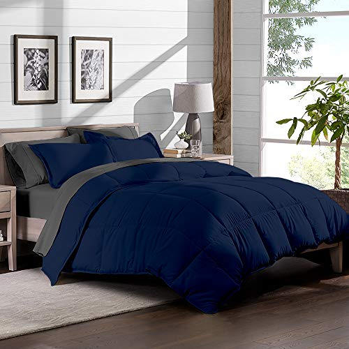 7-Piece Bed-In-A-Bag - 100 % (Comforter Set: Dark Blue, published Set: Grey) Black Friday & Cyber Monday 2018
