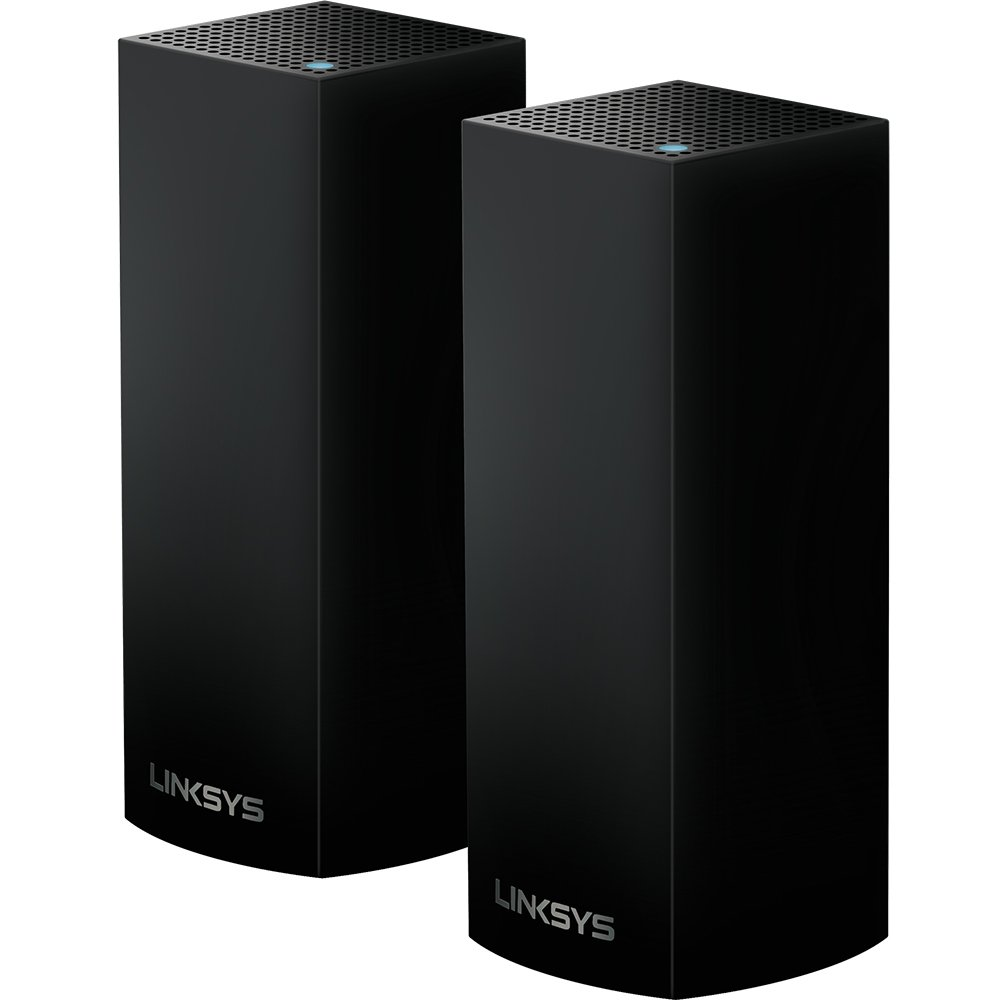 Linksys Velop Tri-Band Home Mesh WiFi System - WiFi Router/WiFi Extender for Whole-Home Mesh Network (2-pack, Black) by Linksys