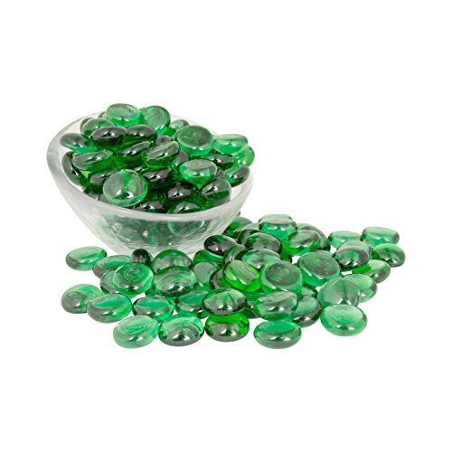 Artisan Supply Emerald Glass Gems 1 Lbs. — FILLS 1 1/4 Cups Vol. —Non-Toxic Lead Free Vase Filler, Table Scatter, Aquarium Filler — Beautiful, Smooth, Fun, Vibrant Colors Crafted in (Green Amber Beads)