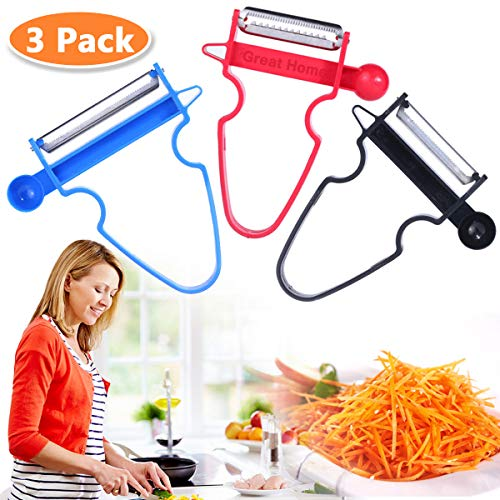 Magic Trio Peelers Set of 3 New Upgrade Potato Peeler Stainless Steel Shredder Slicer Fruit & Vegetable Kitchen Starter Kit for Mom by Great Home (Ship From US)