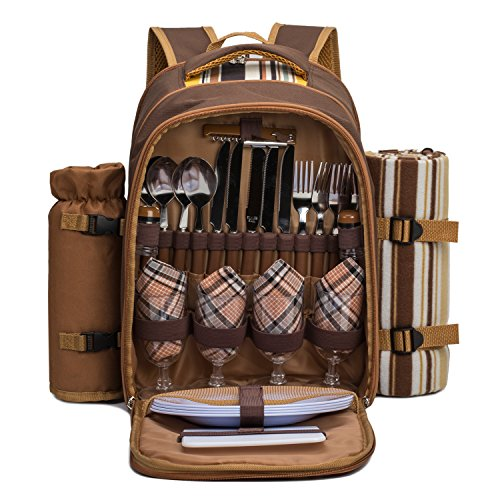 TAWA Picnic Backpack Bag for 4 Person With Cooler Compartment,wine bag, picnic blanket, best for family and lovers gifts (Coffee Picnic Backpack)