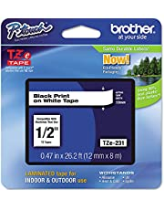 Brother TZE231 Genuine P-Touch Tape (12mm Black on White)