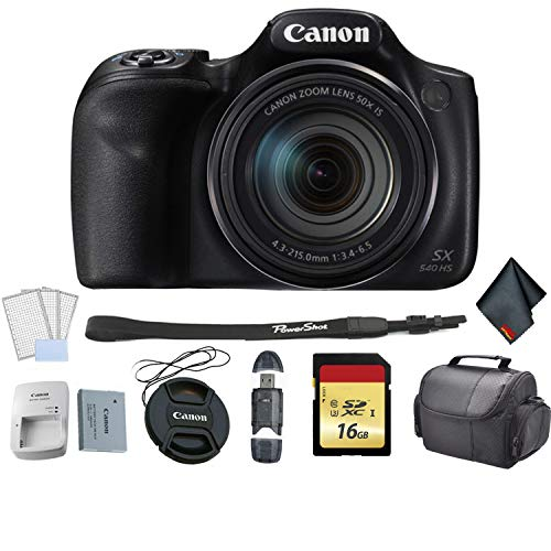 - Canon PowerShot SX540 HS Digital Point and Shoot Camera Bundle with 16GB Memory Card + LCD Screen Protectors + SD Card USB Reader and More - International Version