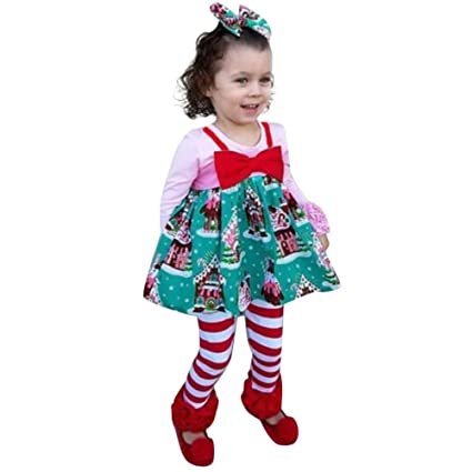 Franterd Little Girls Sleeveless Christmas Dress Kids Xmas Santa Claus Bowtie Strap Princess Dresses for Legging