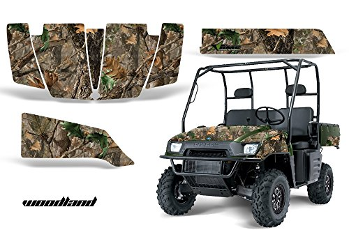 AMRRACING Polaris Ranger 500 700 2005-2008 Full Custom UTV Graphics Decal Kit - Woodland Camo ()