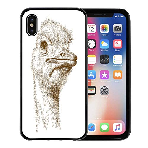Antique Ostrich - Semtomn Phone Case for Apple iPhone Xs case,Emu Antique Engraving of Ostrich Head Farm Sketch Africa Ancient for iPhone X Case,Rubber Border Protective Case,Black