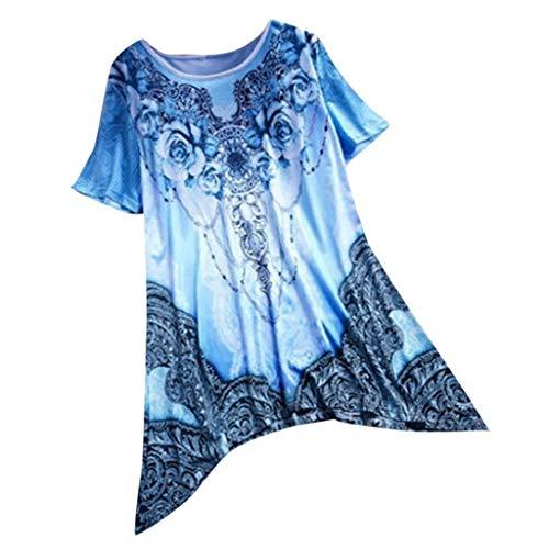 (TANLANG Womens Mini Dresses Tops Retro Flroal Print V Neck Botton Down Short Sleeves Casual Outdoors Vest Blouse T Shirts Dark Blue)