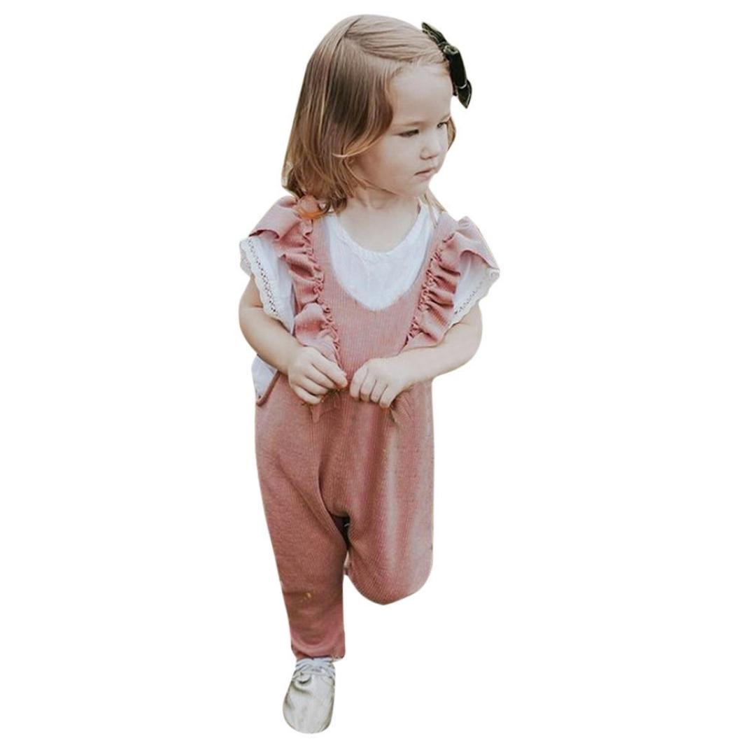Clearance!!Girls Knitted Ruffle Romper,Cute Kid Baby Overalls Jumpsuit Long Pants Outfits (18M, Pink)