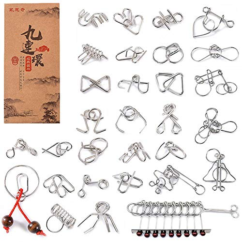 ALFEEL Assorted Brain Teasers Metal Wire IQ Puzzles with Box Package - 30-Pack Puzzles Great Educational Intelligence Toys for Adults Kids Challenge ()