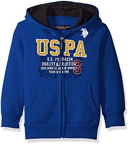 U.S. Polo Assn. Big Boys Fleece Hooded Jacket, Cobalt Blue, 8 by U.S. Polo Assn.