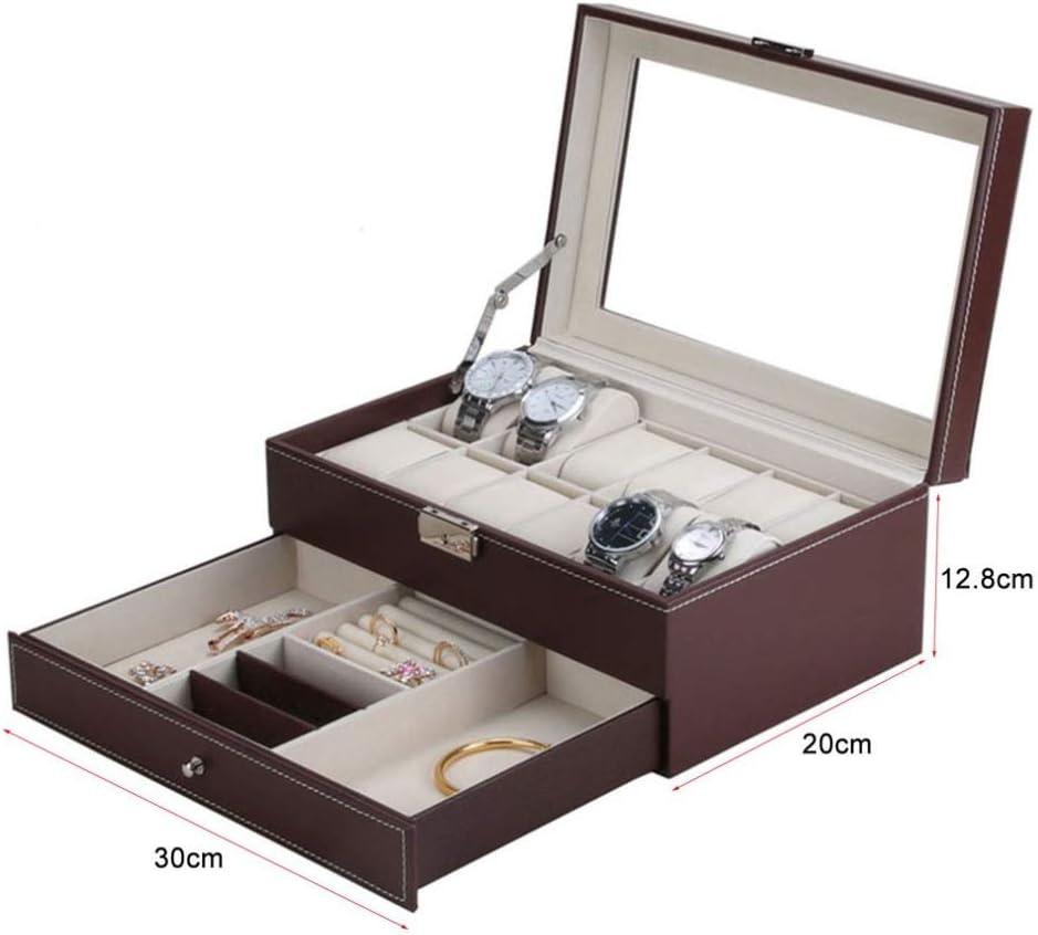 Watch-HLH 12 Grids Slots Professionelle Uhren Aufbewahrungsbox Doppelschichten PU Leder Uhrenetui Organizer Box Halter (Farbe : SCHWARZ) Red